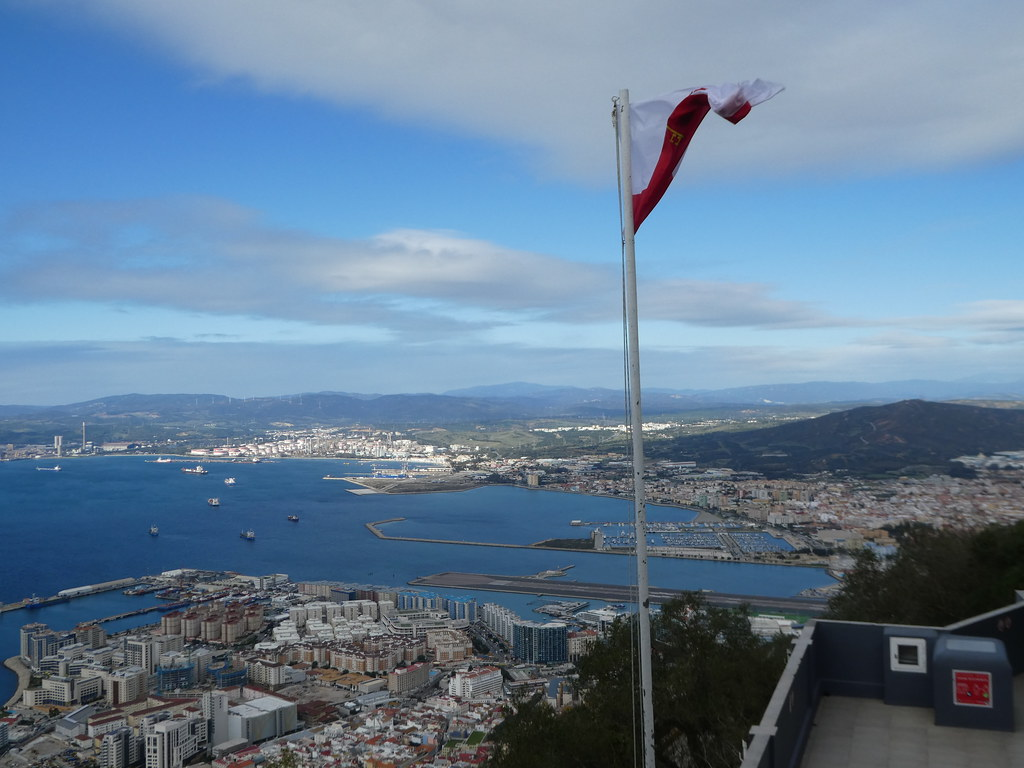 View from the Top Cable Car station, terrace, Gibraltar