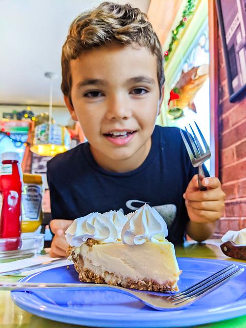 Taylor Family eating Key Lime Pie at Mrs Macs II Restaurant Key Largo Florida Keys 2020 1