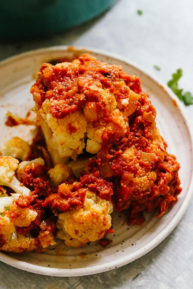 Whole Roasted Cauliflower with Spicy Tomato Masala Sauce