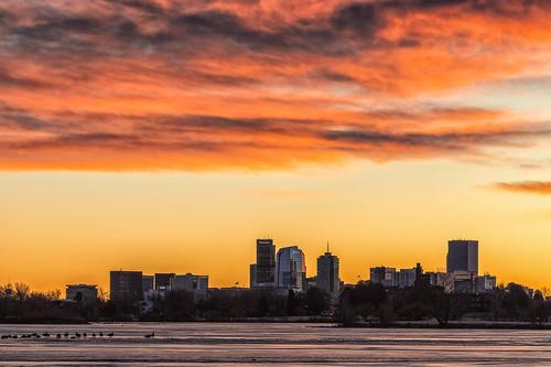 denver colorado skyline sunrise dawn daybreak ice sloanslake landscape landscapes cityscapes cityscape
