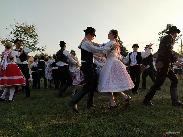 Kalocsa folk dancers in harvest procession