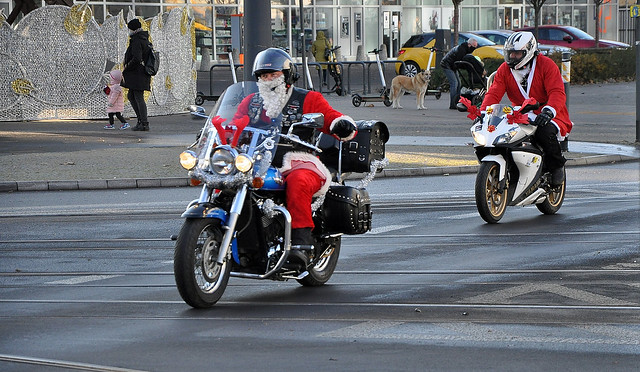 Santa Clauses are riding