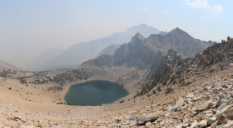 Looking back east from Kearsarge Pass, with Big Pothole Lake down below us