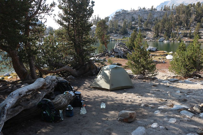 Our tent and campsite at Kearsarge Lakes