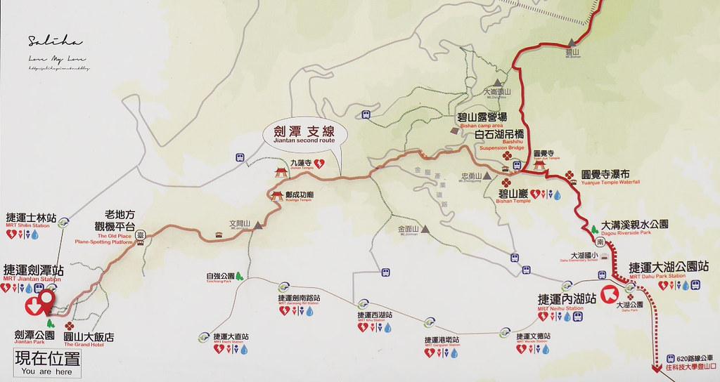台北劍潭山步道老地方觀機平台地圖怎麼走路線圖攻略 (2)