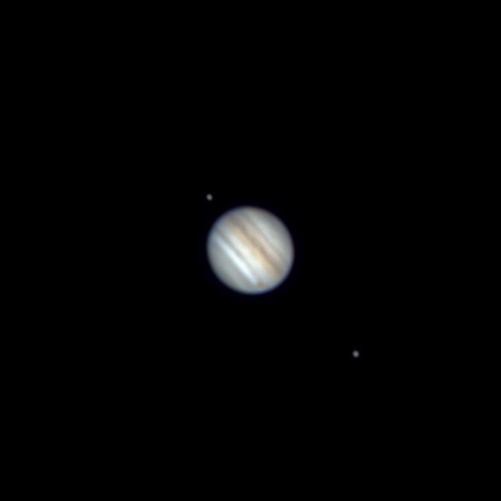 木星と土星の接近 (拡大: 木星) (2020/12/22 16:55)