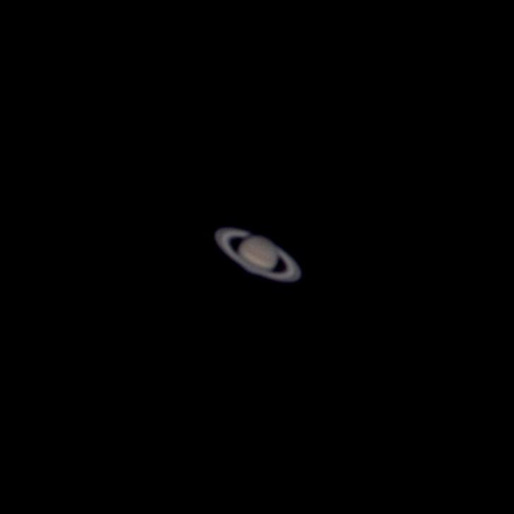 木星と土星の接近 (拡大: 土星) (2020/12/22 16:55)