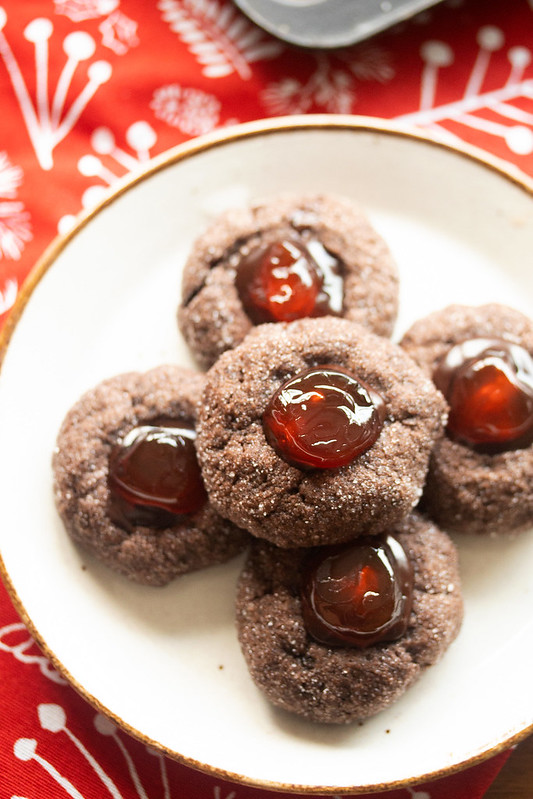 Plate of Chocolate Cherry Thumbprints