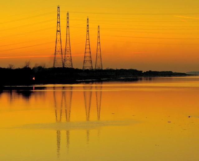 Pylon reflections over the Ribble at Preston