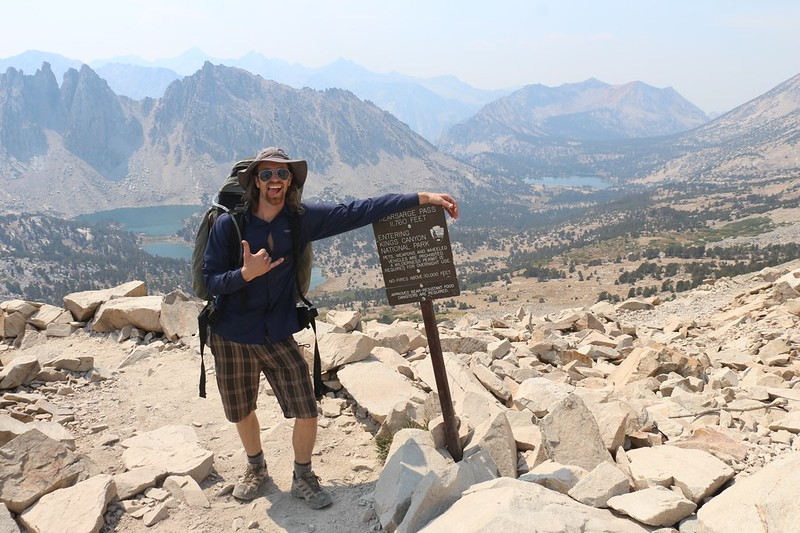 We made it to Kearsarge Pass, looking west into the Kearsarge Basin, with the Kings Canyon entry sign