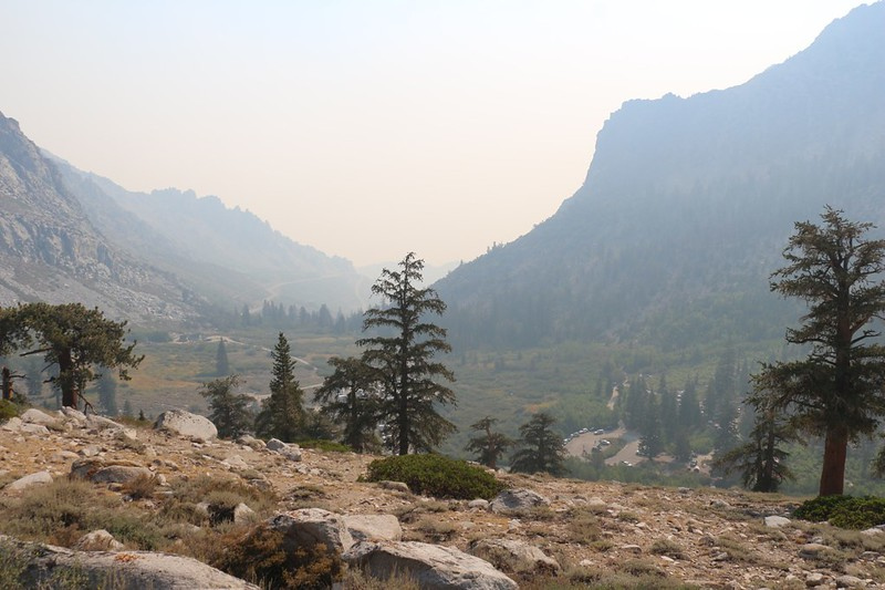 The Owens Valley was full of smoke as we looked back east over Onion Valley - it was from the SQF Complex Fire
