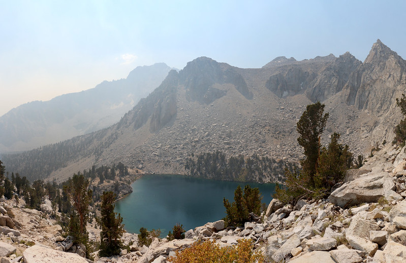 Heart Lake from the Kearsarge Pass Trail as we switchback up the headwall