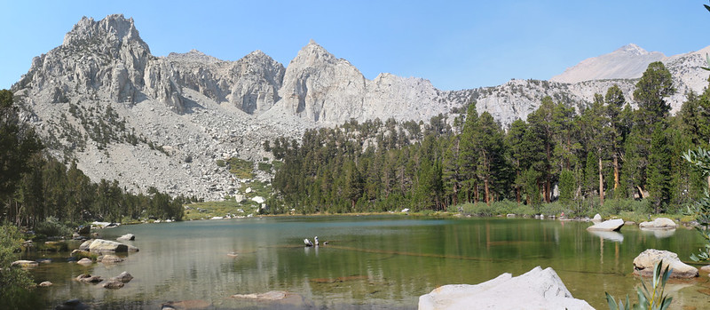 We took a lunch break at Flower Lake, with Mount Gould on the far right, from the Kearsarge Pass Trail