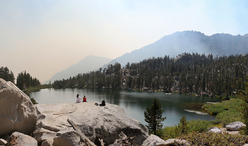 Looking east over Gilbert Lake and the big boulder - you can see how the smoke is rising up from Owens Valley