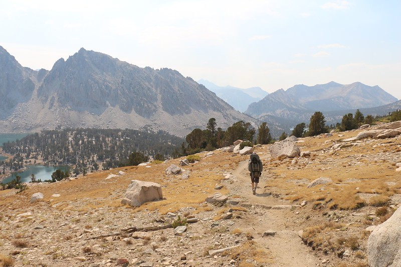 Hiking down the Kearsarge Lakes Trail