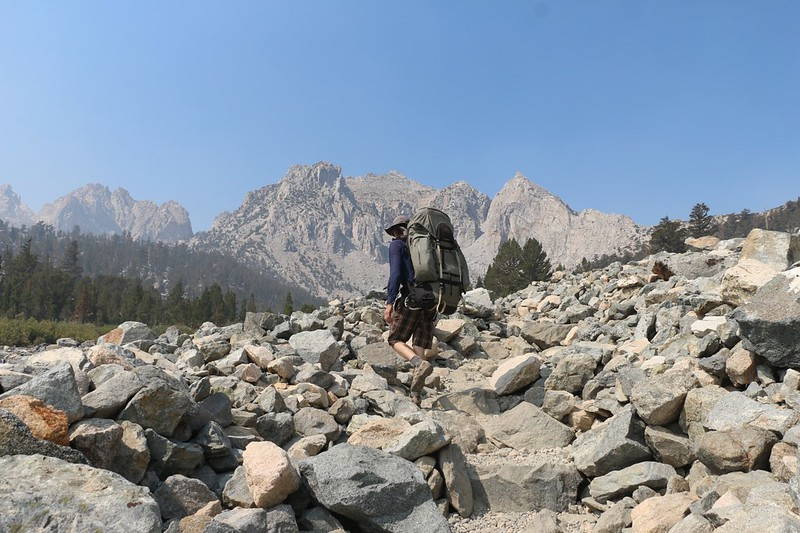 We climbed into the talus section of the Kearsarge Pass Trail near Gilbert Lake - this is the last spot for cell reception