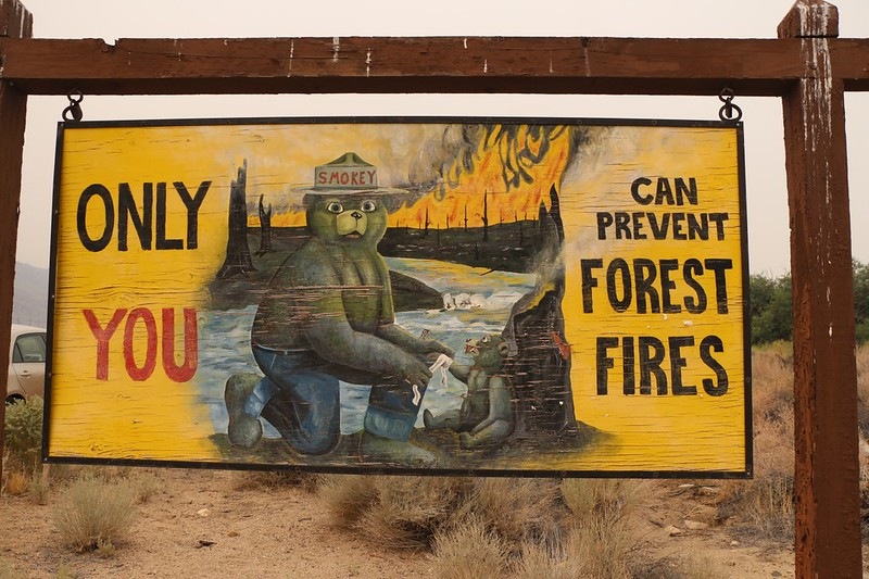 Old Smokey the Bear Sign on Highway 395 in Bishop, CA - and it was very smokey that day!