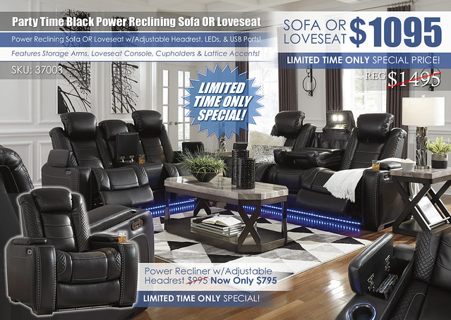 Party Time Power Reclining Sofa & Loveseat_37003_2020