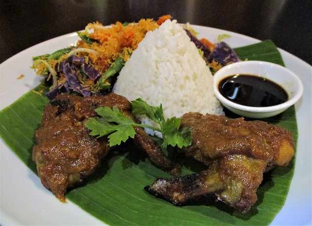 Ayam bakar berempah with kerabu and rice