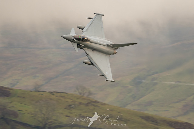 TRIPLEX 31, RAF Eurofighter Typhoon FGR4 ZK329 in murky weather in the English Lake District