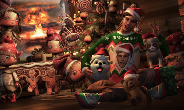 When it's literally the apocalypse outside but you just won an ugly sweater contest cause it's got your face on it 😗✌