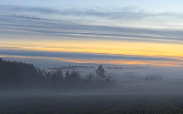 Misty bleak sunset, Hølen, Norway