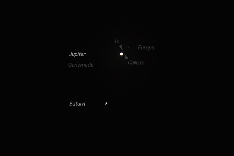 Grand conjunction: Jupiter and Saturn, 23 Dec 2020, Sydney, Australia - labelled