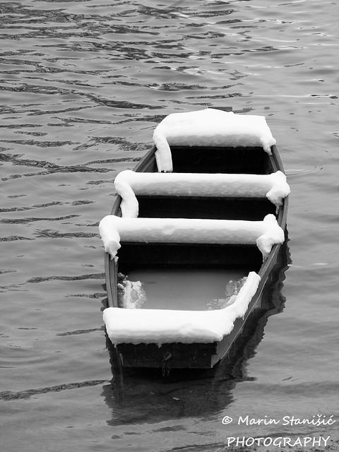 Karlovac, Croatia - River&boat&snow...