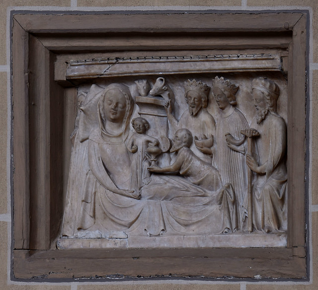 Paderborn, Westfalen, Dom, choir, alabaster relief, adoration of the magi