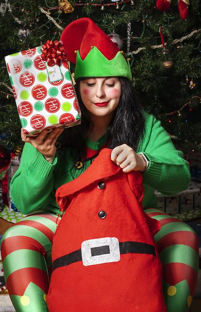 Julie, quit elfin' around & fill my sack!