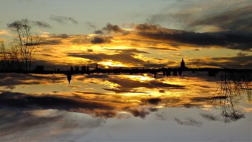 sunset skies golden hour church evening winter leeds west yorkshire