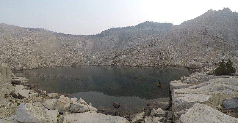 The upper lake south of Glen Pass rested on granite and did not dry up - that's Glen Pass left of center