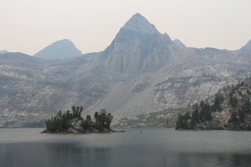 Painted Lady in the haze from the northern shore of Upper Rae Lake on the isthmus