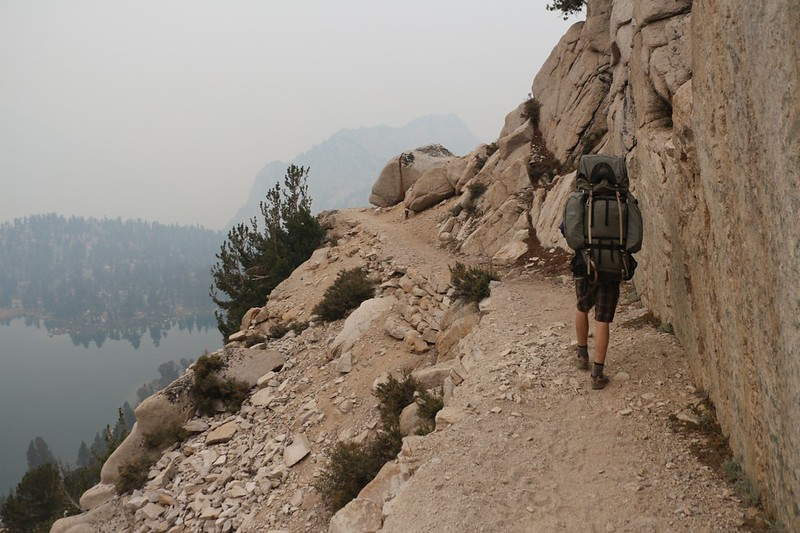 The Kearsarge Pass Trail stays high above Bullfrog Lake and the views would have been great but for the smoke