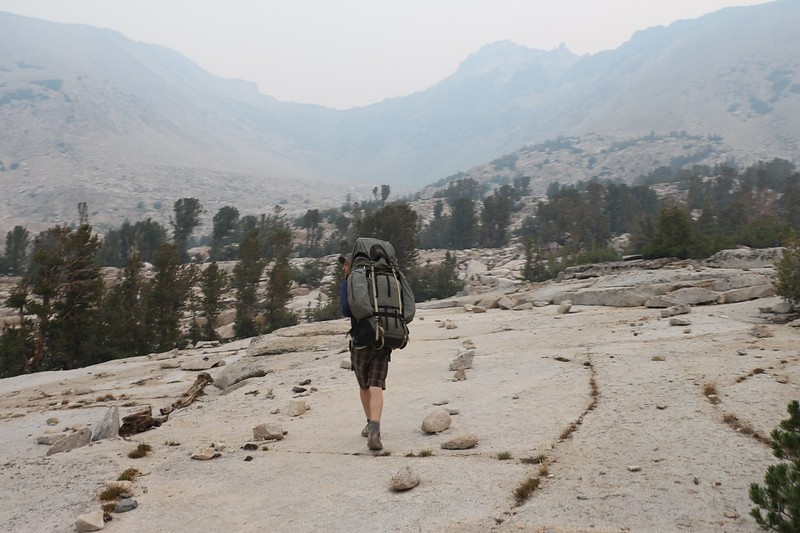 We had to climb several hundred feet, back toward Kearsarge Pass, in order to join the high trail above the basin