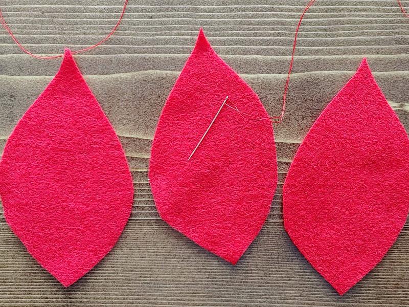3. Select three large petal pieces