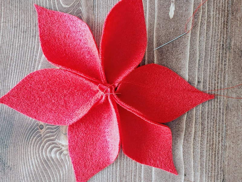 7-1. Sew a circle through the ends, to allow petals to spread out evenly