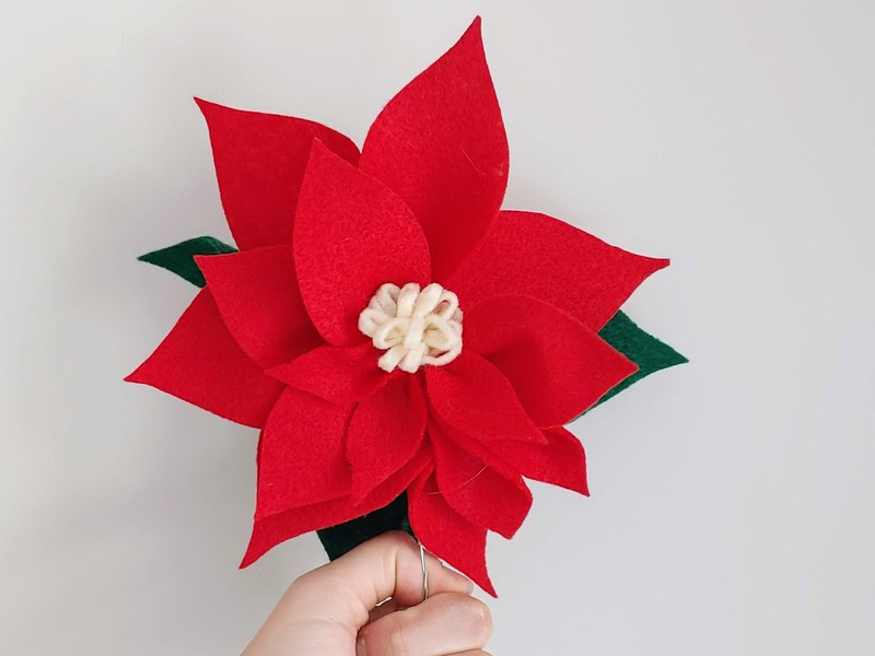 Completed Felt Poinsettia with steam.