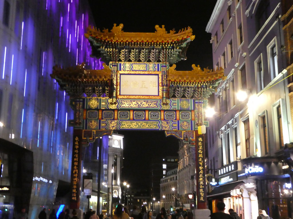 Chinatown arch at night, London