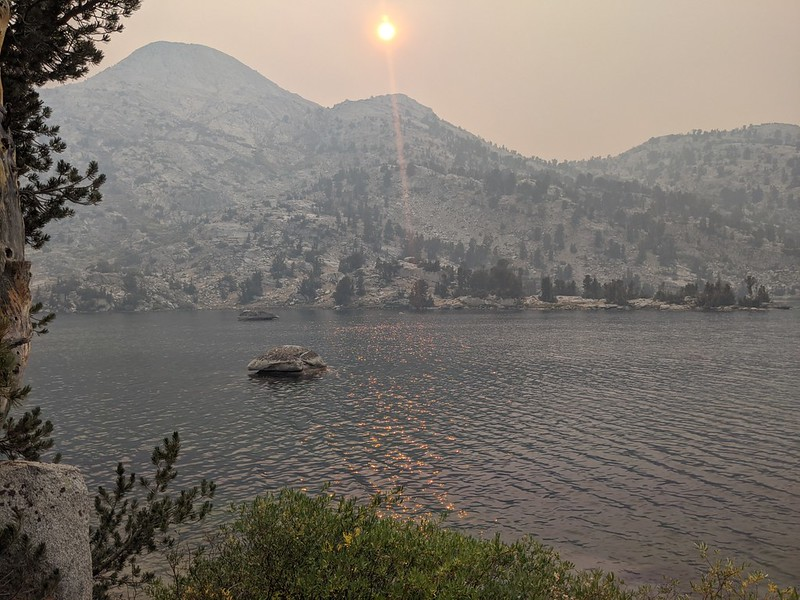 By 5pm the main plume of smoke and ash had drifted away, and the sun was only slightly orange at the Rae Lakes