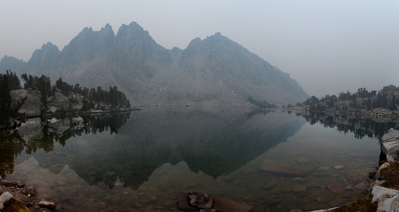 There were fine ash particles raining down all around us as we left the Kearsarge Lakes - I finally got to use my mask!