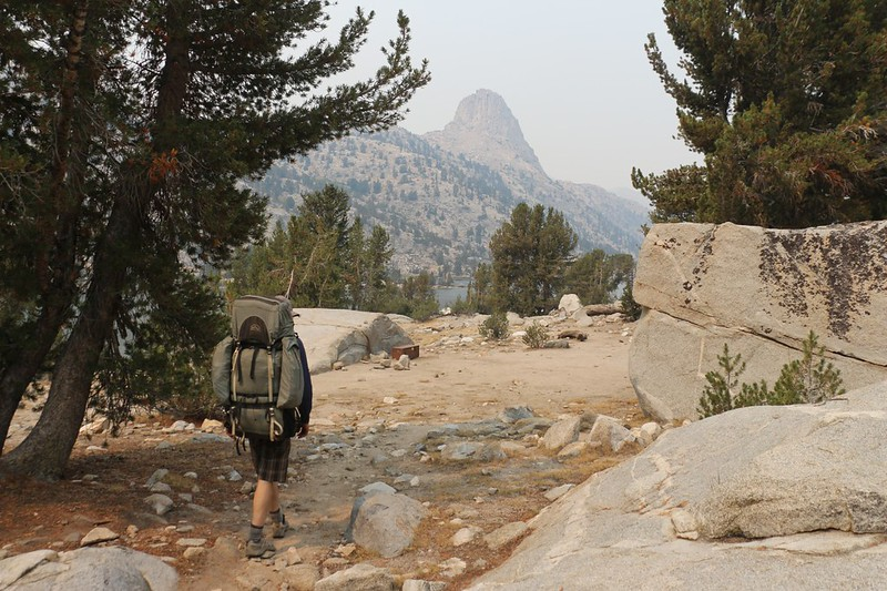 We arrived just after noon at the main camping area in the Rae Lakes - Fin Dome is in the distance