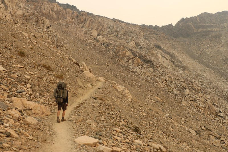 Climbing the switchbacks on the PCT heading north to Glen Pass
