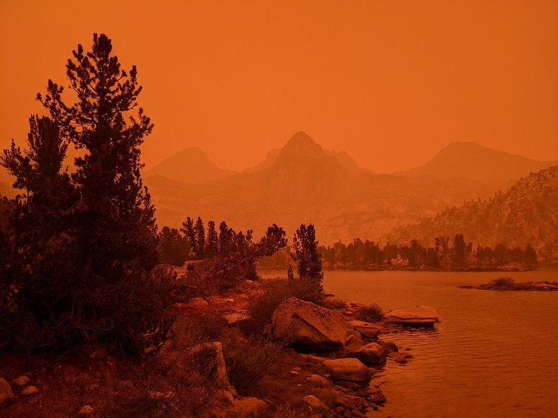 Ash was drifting down everywhere and the sky was deep orange, with Painted Lady visible over the Rae Lakes