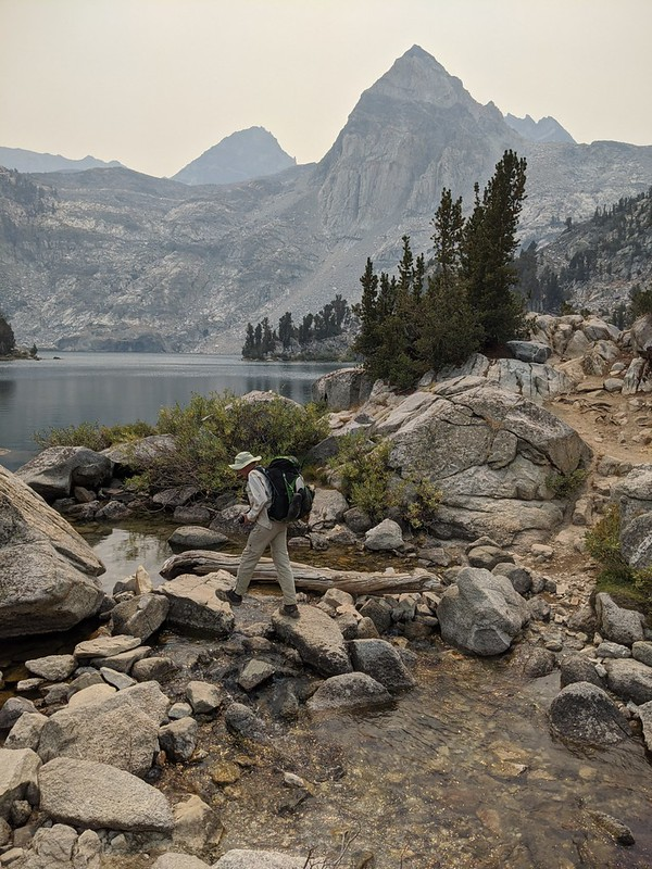 Me crossing the creek between the two big Rae Lakes on the Pacific Crest Trail with Painted Lady right of center