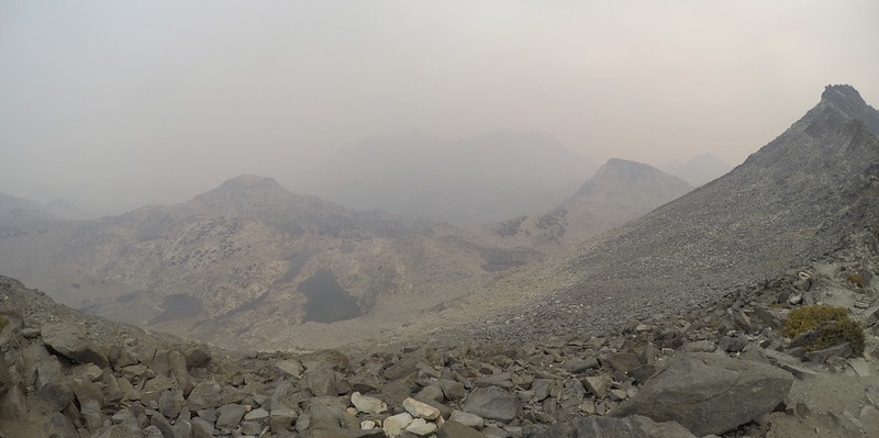 Somewhere out in that haze are the Rae Lakes - view north from Glen Pass on a very smoky day