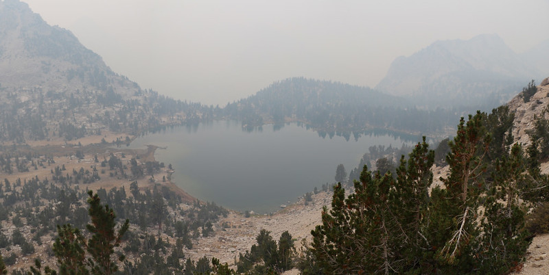 Looking down at hazy Bullfrog Lake from the Kearsarge Pass Trail as we continue west toward the PCT