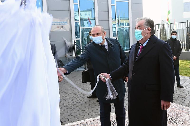 Ифтитоҳи корхонаи коркарди санги хоро ва мармар дар шаҳри Душанбе 24.12.2020