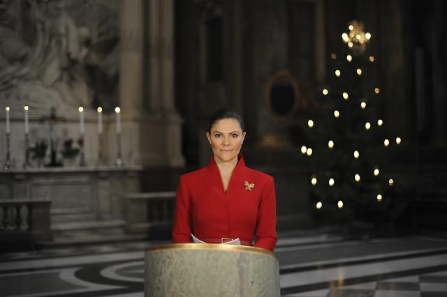 Kroonprinses Victoria van Zweden leest Kerstevangelie