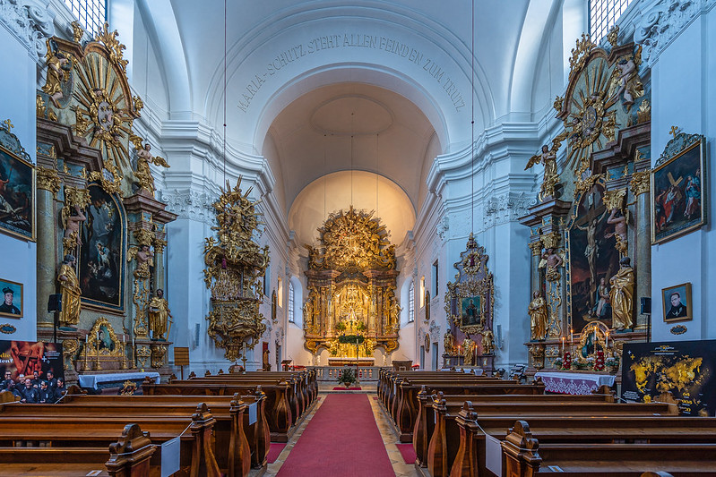 Interior of the pilgrimage church Maria Schutz